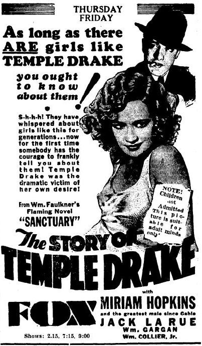 Ad for The Story of Temple Drake