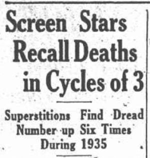 Screen Stars Recall Deaths in Cycles of 3