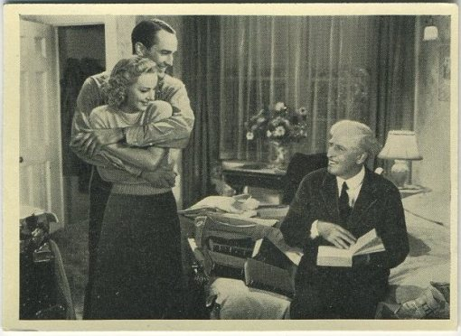 Lee Bowman and Anne Shirley with Edward Ellis on a 1940 Cinema Cavalcade Tobacco Card
