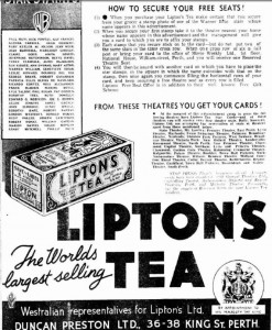 Bottom half of Lipton Movie Star Stamp ad - Click to Enlarge