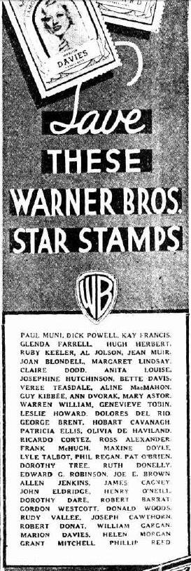 1935 Lipton Warner Brother Movie Star Stamps Checklist