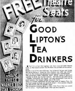 Top half of Lipton Movie Star Stamp ad - Click to Enlarge