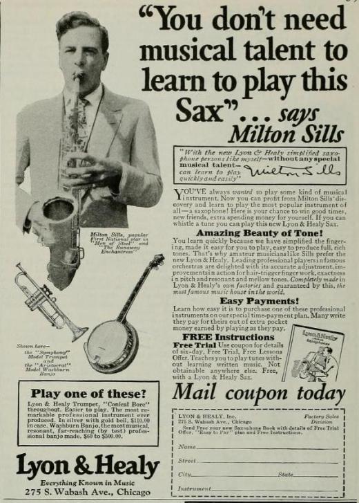 Milton Sills 1927 Sax Ad