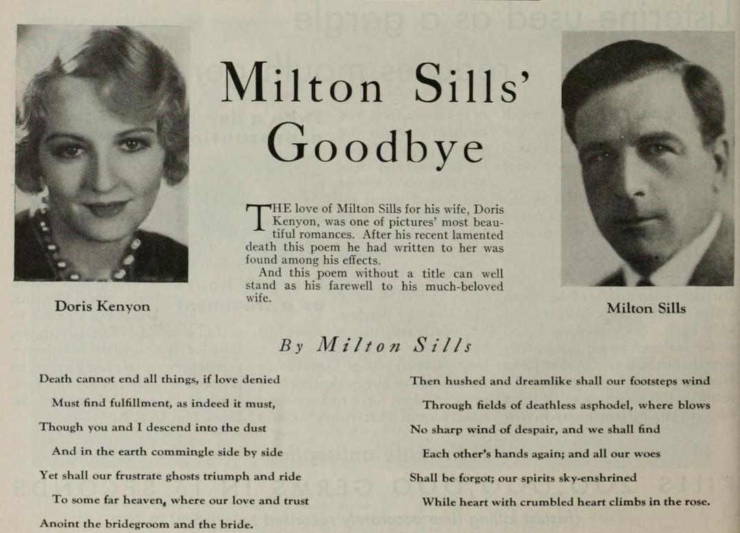 Milton Sills Poem