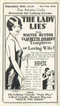 Movie Theater flyer picturing ad for The Lady Lies