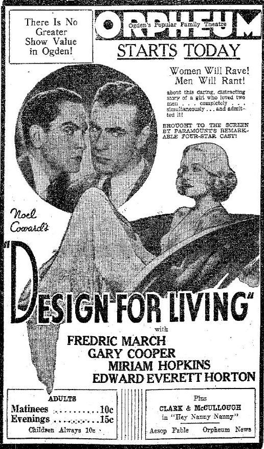 DESIGN FOR LIVING from the Ogden Standard Examiner, February 4, 1934, page 7