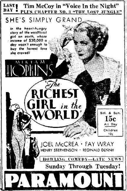 THE RICHEST GIRL IN THE WORLD from the Logansport Pharos Tribune, October 20, 1934, page 3