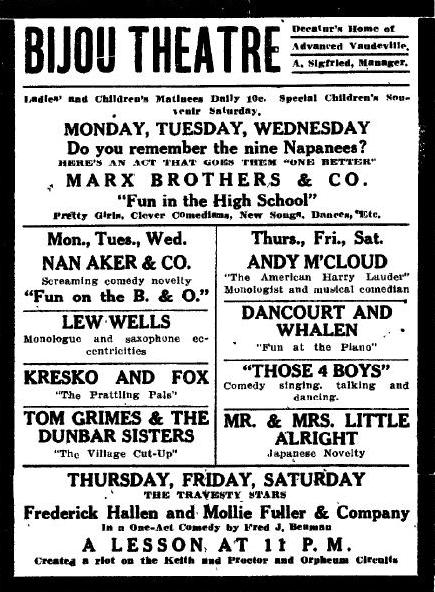 The Marx Brothers ad, 1911