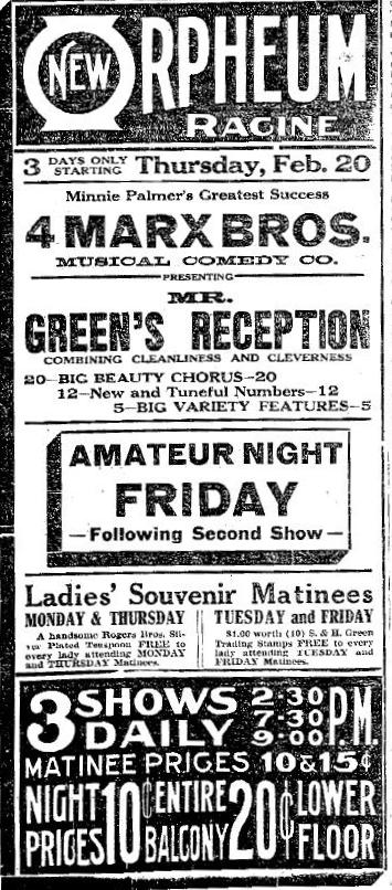 1913 newspaper ad for the Marx Brothers