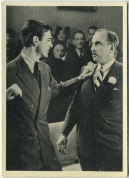 Gary Cooper gets ready to sock Douglass Dumbrille on this 1940 Max Cinema Cavalcade Tobacco Card