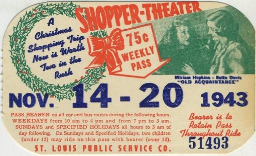 1943 Bus Pass advertising OLD ACQUAINTANCE