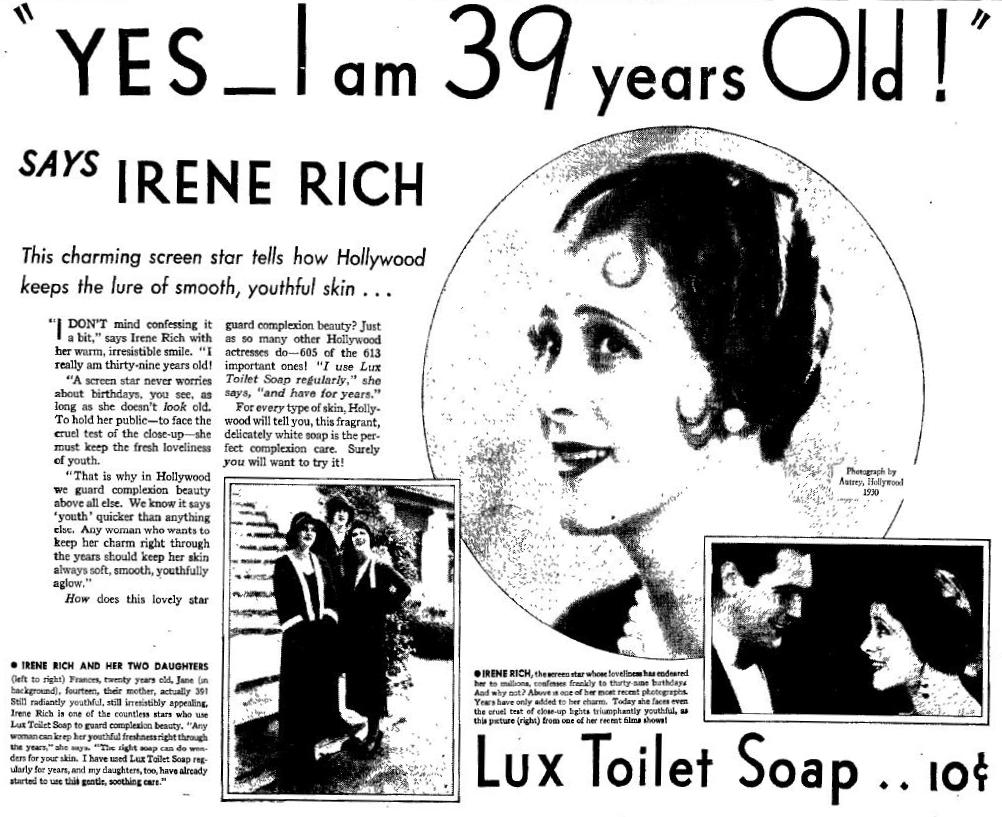 Irene Rich Lux Toilet Soap ad