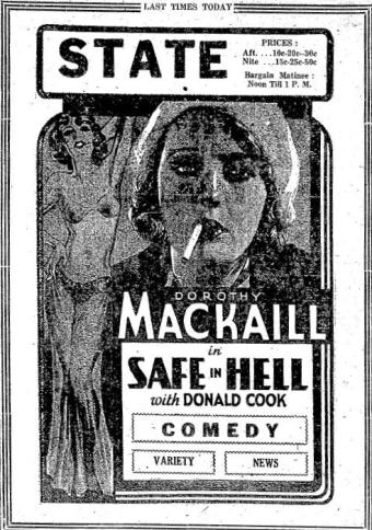 Safe in Hell ad from the Daily News Standard, January 6, 1932, page 2