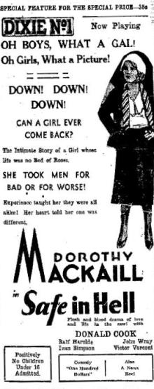 Safe in Hell ad from the Galveston Daily News, March 20, 1932, page 15