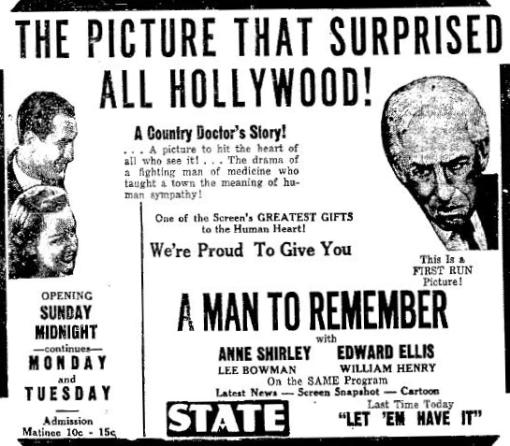 A Man to Remember 1938 newspaper ad