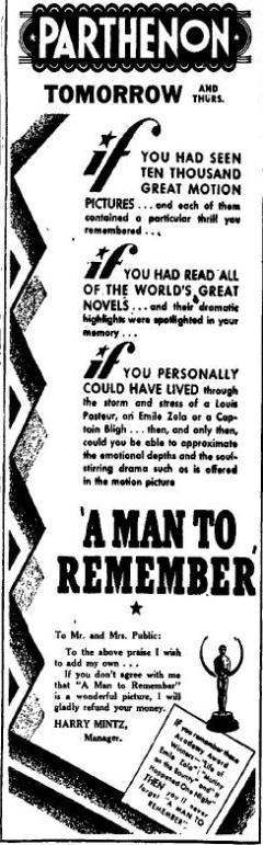1938 advertisement for A Man to Remember