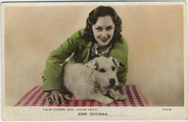 Ann Dvorak Film Stars and Their Pets Postcard
