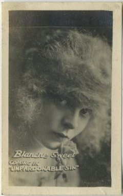Blanche Sweet on a circa 1919 Kinema Theatre advertising card