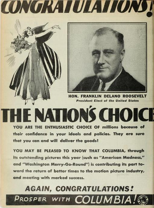 From Film Daily, shortly after the election in November 1932