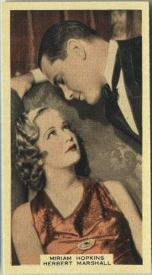 Herbert Marshall and Miriam Hopkins 1939 A and M Wix Tobacco Card