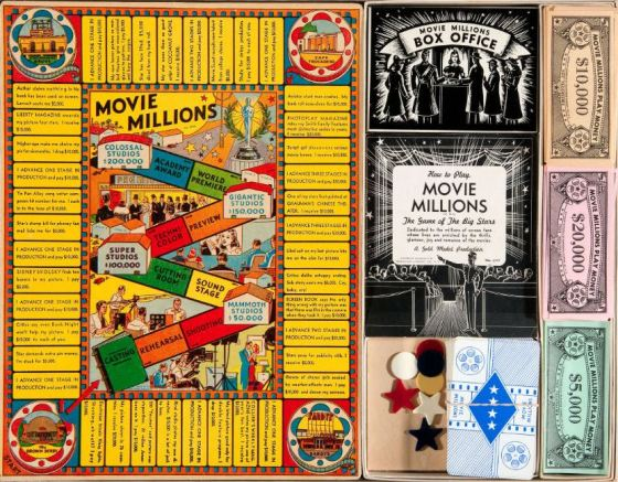 1938 Transogram Movie Millions Game Set Game Pieces