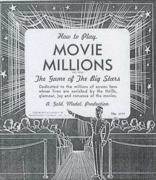 1938 Transogram Movie Millions Game Set Instructions