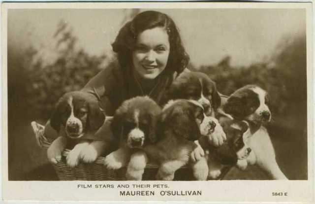 Maureen O'Sullivan Film Stars and Their Pets Postcard