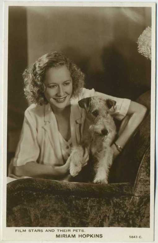 Miriam Hopkins Film Stars and Their Pets Postcard
