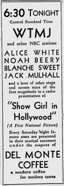 Show Girl in Hollywood on the Radio, ad from the Milwaukee Journal, May 24, 1930, page 5