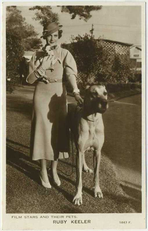 Ruby Keeler Film Stars and Their Pets Postcard