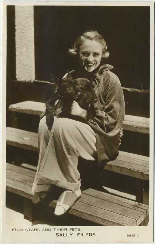 Sally Eilers Film Stars and Their Pets Postcard