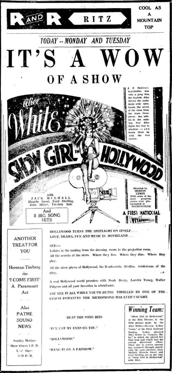 Show Girl in Hollywood ad