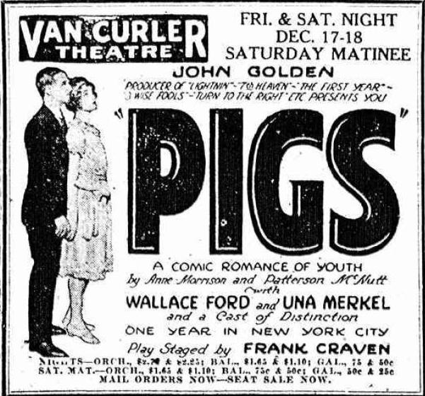 Ad for PIGS featuring Wallace Ford with Una Merkel
