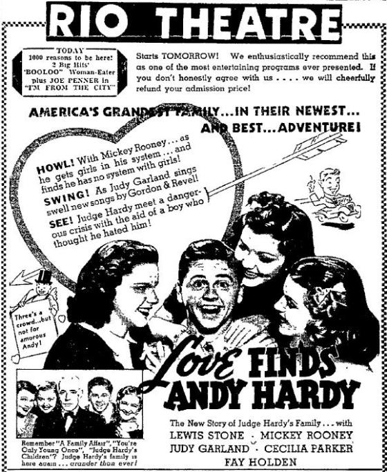 Love Finds Andy Hardy 1938 newspaper ad