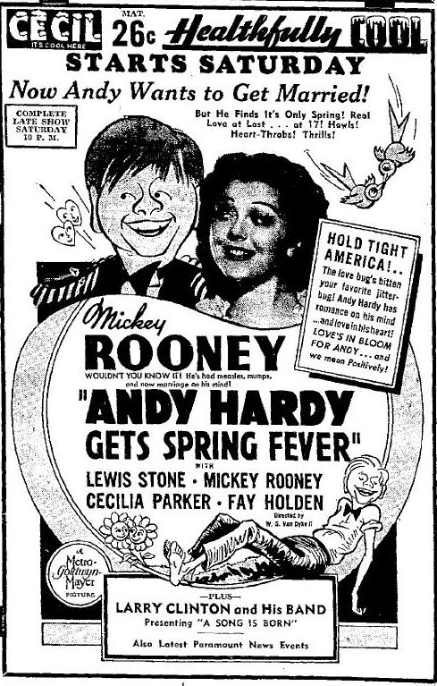 Andy Hardy Gets Spring Fever newspaper advertisement