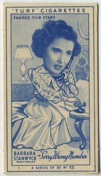Barbara Stanwyck 1949 Turf brand tobacco card