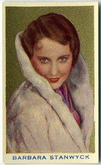 Barbara Stanwyck 1939 Rothmans Beauties Tobacco Card