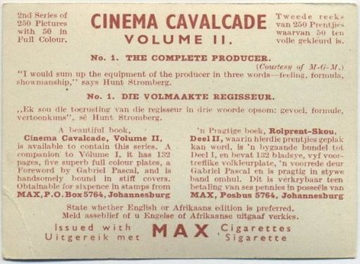 Reverse side of 1940 Cinema Cavalcade card from Volume 2
