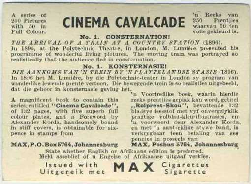 Reverse side of 1940 Cinema Cavalcade card from Volume 1