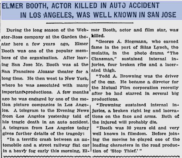 1915 newspaper article covering death of Elmer Booth