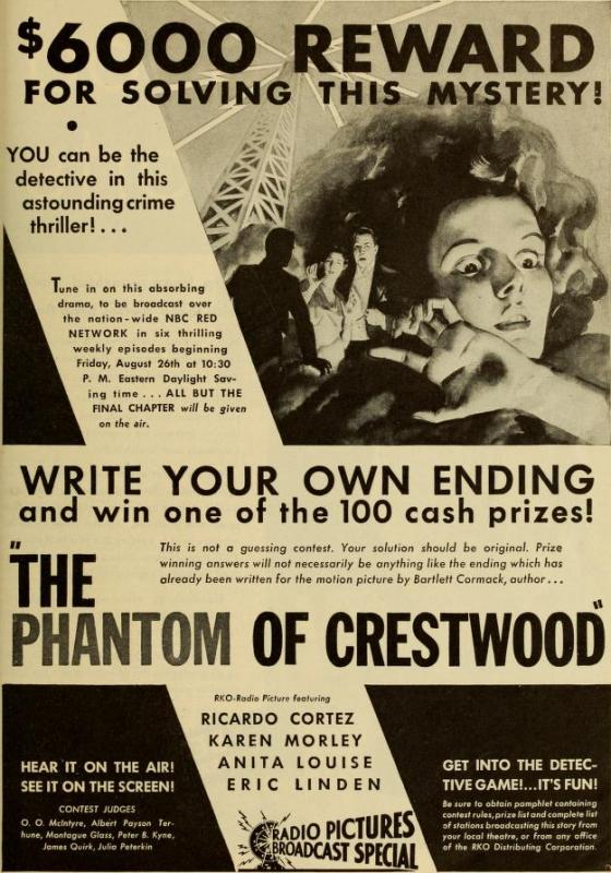 Ad for The Phantom of Crestwood, Photoplay, September 1932