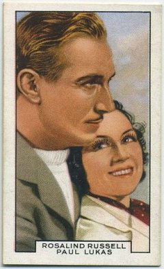 Paul Lukas and Rosalind Russell 1935 Gallaher Film Partners Tobacco Card