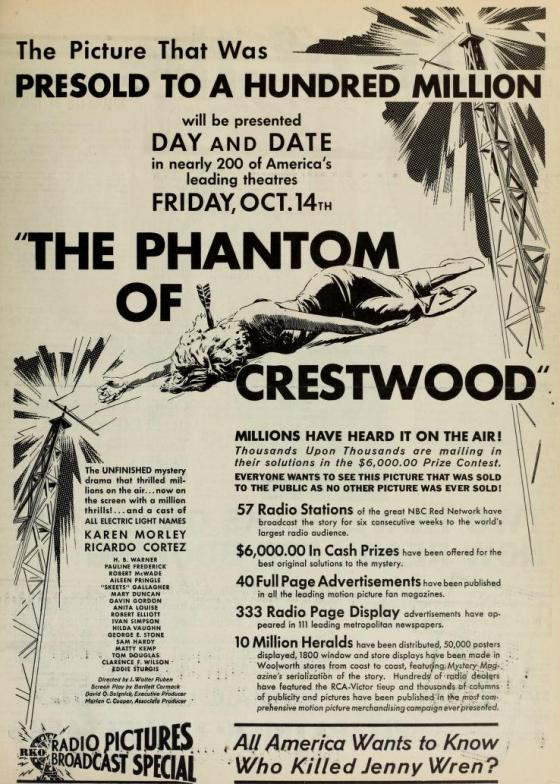 The Phantom of Crestwood ad from the Film Daily, September 1932
