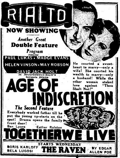 Age of Indiscretion ad Arizona Independent Republic, September 8, 1935, page 74