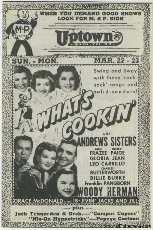 The Andrews Sisters in What's Cookin Movie Theater Program