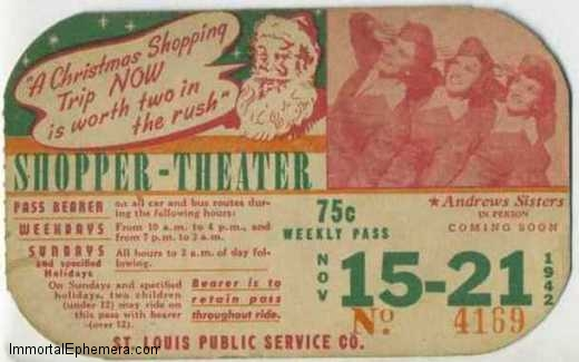 The Andrews Sisters in person 1942 St Louis area bus pass