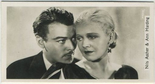 Nils Asther and Ann Harding 1937 John Sinclair Tobacco Card