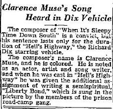 Clarence Muse clipping for Hells Highway