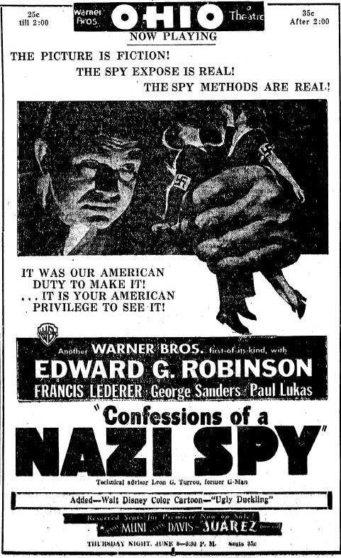 Confessions of a Nazi Spy ad Sandusky Register, May 28, 1939, page 2