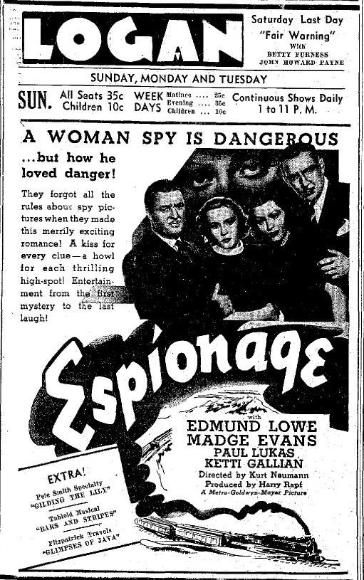 Espionage ad Logansport Pharos Tribune, March 13, 1937, page 6
